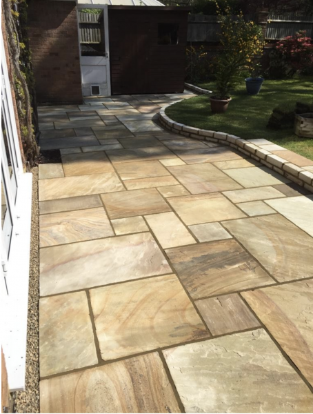 Fossil Mint Natural Riven Sandstone Paving, Circle, Coping & Steps