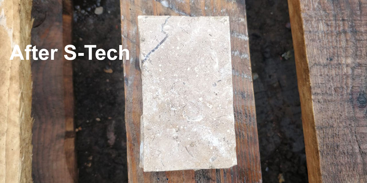 limestone after treating with s-tech cleaner
