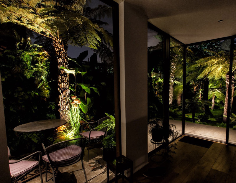 looking out onto a beautifully lit garden at night time