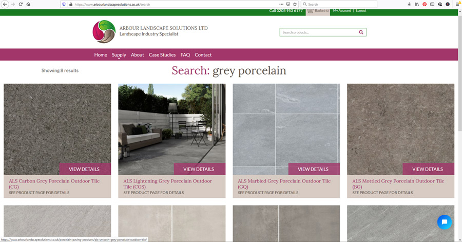 website screenshot buy grey porcelain paving