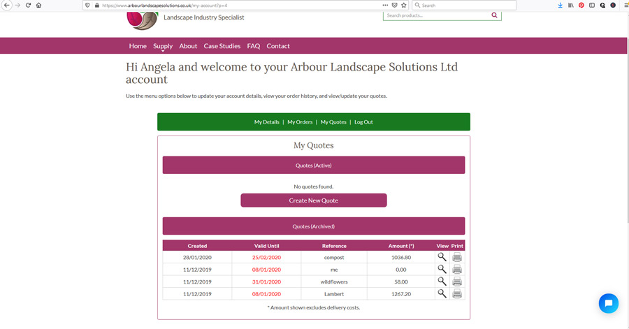 landscaping materials quote system