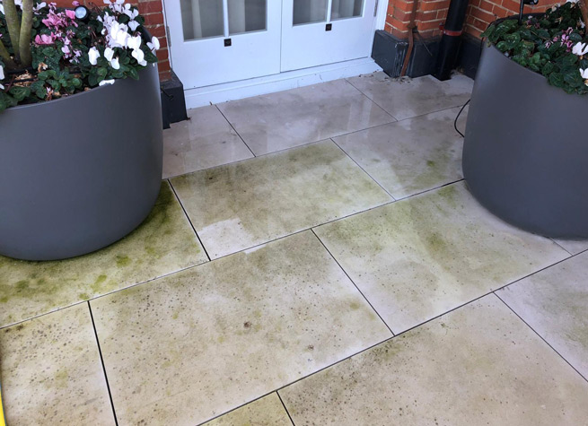 stained sandstone patio